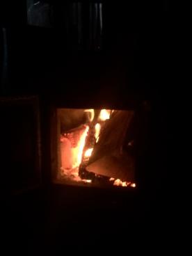 Fire blazing at Lakehead Hut.