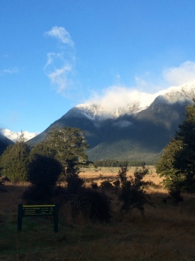 Snow atop the mountains at St Arnaud.