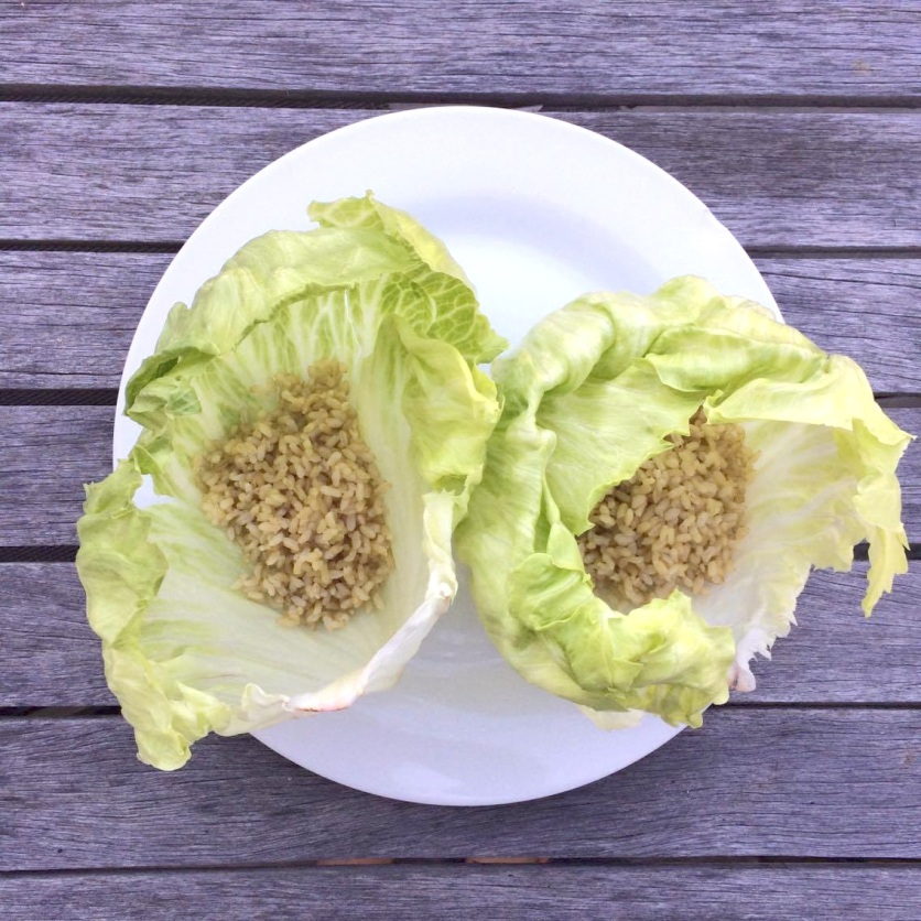 Lettuce cups with brown rice base.