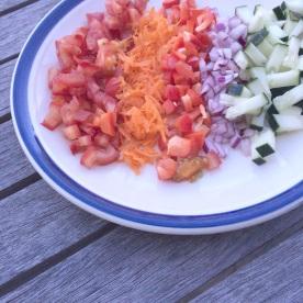 Diced salsa ingredients.